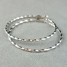 14k White Gold Plated Large Hoop Twisted Earrings