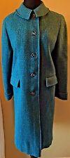 Vintage 1960s Harris Tweed Wool Blue Purple Mod Womens Coat Size S CJ15