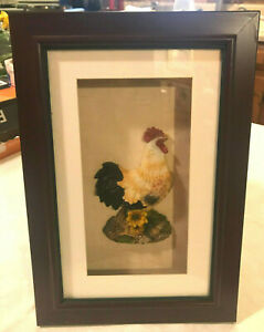 """FRAMED ROOSTER CHICKEN WALL ART HANGING PICTURE SHADOWBOX - 8"""" X 11 1/2"""""""