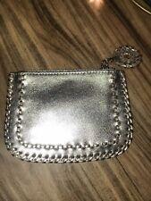 Jack Rogers Silver Leather Zipper Pouch Wallet