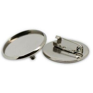 Silver Tone Round Circular Brooch Badge Setting Blanks Fits 25mm Cabochon