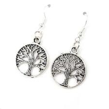Argent Sterling 925 Crochets Vintage argent tribal celtique arbre de vie Boucles d'oreilles