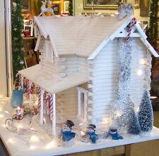 Miniature Santa's Workshop 1/12 dollhouse w/elves, fireplace, antique sled, toys