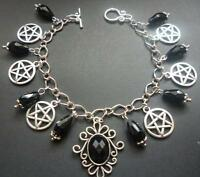 Pentagram Pagan Black Bead Silver Charm Bracelet Wicca Pentacle Charm Bracelet