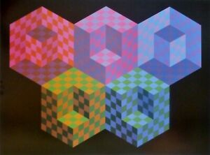 """VICTOR VASARELY """"Hexa 5"""" Seoul Korea 1988 Orig.Olympic Lithograph Poster op art"""