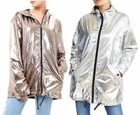 Ladies Plus Size Shiny Metallic Contrast Hood Lining Parka Coat Jackets 18-24