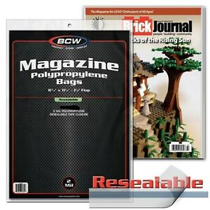 10 BCW Resealable Magazine Sleeves Clear Plastic Protect Storage 8 3/4 x 11 1/8