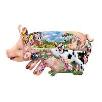 Sunsout - Pig Farm - Shaped 800 piece jigsaw puzzle.