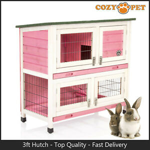 Rabbit Hutch 3ft by Cozy Pet Pink Guinea Pig Hutches Run Rabbit Ferret Runs RH06