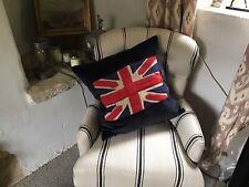 """Andrew Martin Vintage Union Flag Motif Cushion Cover 22"""" Square On Velvet"""