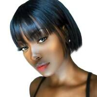 Glueless Indian Remy Human Hair Wig Bob Straight Full Wig With Bangs Black Women