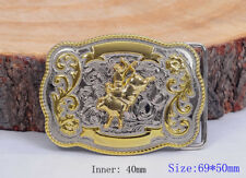 Biker Western Cowboy Rodeo Leather Belt Buckle Rectangle Bull Rider Gold Silver