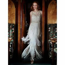 "Phase Eight Collection 8 ""Lucille"" Champange Fringe  Maxi Dress Size 16 £395"