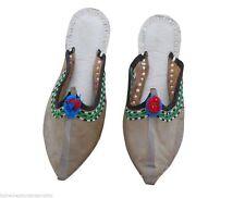 Women Slippers Indian Handmade Designer Flip-Flops Clogs Gray Jutties US 6