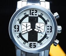 NXS Moto Swiss Chronograph Mens Multi Function w Date 2Tone Silver Bracelet NIB