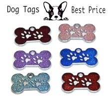Personalised Engraved Glitter Dog Bone Small Tag Dog Reflective Pet ID Tags