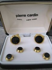 Pierre Cardin Cufflinks & Studs, Round, Gold-Tone and Onyx, Fancy Edge, NOS