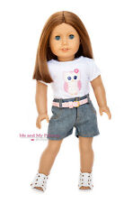 Owl Shirt Denim Shorts Belt and Shoes for 18 inch American Girl Doll clothes
