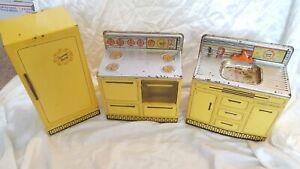 Vintage Wolverine Sunny Suzy Kitchen Sink Stove Refrigerator Set Toy Tin Litho
