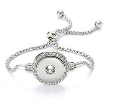 Silver Rhinestone Pull Closure Bracelet Drill Snaps Fit 18mm Noosa Chunk Button