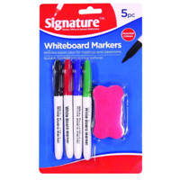 NEW 4PCS WHITEBOARD COLOURED MARKER PENS & ERASER DRY WIPE BOARD PENS SET
