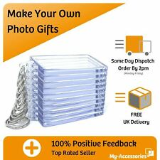 More details for photo keyring clear blank acrylic 35 x 24mm 45 x 35mm 50 x 35mm 70 x 45mm insert