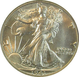 1941 S WALKING LIBERTY HALF DOLLAR-ANACS MS64 SMALL WHITE HOLDER GREAT LUSTER