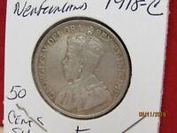 1918-C 50 CENTS HALF DOLLAR FINE NEW FOUNDLAND CANADA (14302-WOR-Y)