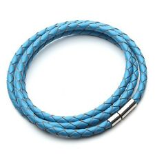 Geflochtenes Nick Jordan Leder Armband Magnet Band blau türkis Lederband NEU OVP