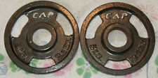 """2 x 5 Lbs CAP CAST IRON OLYMPIC 2"""" hole Barbell Weight Plates 10 Lbs Total"""