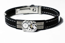 Steampunk men's cuff metal rubber Soviet watch bracelet birthday wedding GIFT