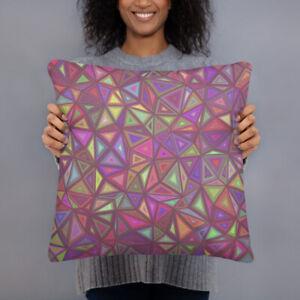 "Geometric Triangles Design Purple & Blue Throw Pillow 18"" x 18"""