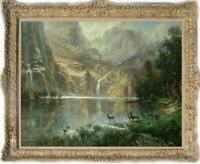 """Old Master-Art Antique Oil Painting Landscape Mountain on canvas 30""""x40"""""""