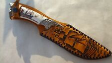 "DAMASCUS STEEL 1200 LAYER CUSTOM HANDMADE KNIFE ELK HORN ""PIRATE JACK SPARROW"""