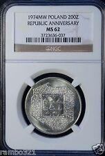 1974 MW Poland 200 Zlotych NGC MS 62 UNC Silver Republic Anniversary Polish Coin