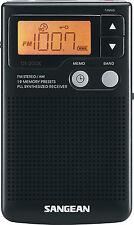 Sangean DT-200X Pocket Radio Tuner 19 Presets Built-In Speaker, Clock, Presets