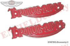 2 RED TRIUMPH FUEL GAS TANK BONNEVILLE TANK MONOGRAM BADGE EMBLEM MOTIF @ECspare