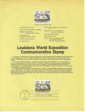 20c WORLD EXPO 1984 SOUVENIR PAGE SCOTT # 2086 SP644 FDC