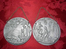 Lot of 2 Antique West Germany Embossed Pewter Art Deco Pictures w/Chain Hangers
