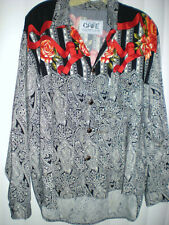 Mens sz S-M VTG CAFE rayon shirt WiLd Spaghetti Western Design ITALY womens top