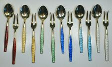 Aksel Holmsen Norway Sterling Silver and Enamel Oyster Forks & Spoons 12 Pieces