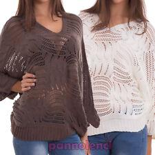 Maglione donna pullover traforato ampio corto scollo V invernale nuovo CJ-2369