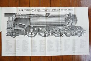 LNER 4-6-2 3 Cylinder Pacific Locomotive Drawing Technical Railway Diagram