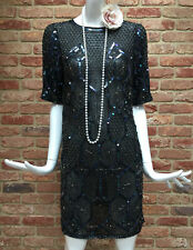 ASOS Beaded Sequin Flapper Gatsby 1920s Charleston Party Dress Size 8