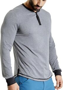 Ohmme Dawn Long Sleeve Mens Yoga Top Grey Soft Quick Drying Eco-Friendly Yarn