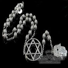 Black Gold Finish Lab Diamond Bead Ball 6 Point Star Hamsa Chain Rosary Necklace