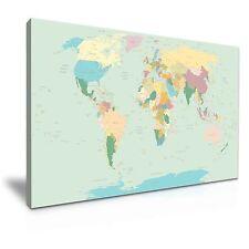 Arte gráfico de mapa mundial sobre lienzo cuadro impresión 76x50cm