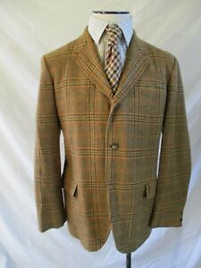 McGregor vintage 60s brown plaid 3 three button preppy wool tweed jacket 42R