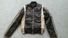 Rare Adidas cream & Brown Ladies Size 10 Padded Waterproof Jacket  3 stripe