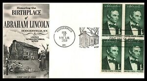 First Day Cover Scott's #1113 1¢ Lincoln Sesquicentennial 1959 KY 4 Panel
